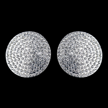 Silver Clear Pave Rhinestone Encrusted Clip On Earrings 4104 ***Discontinued***
