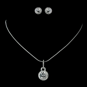 Silver Clear Pendent Earring Set Necklace & Earrings 71889