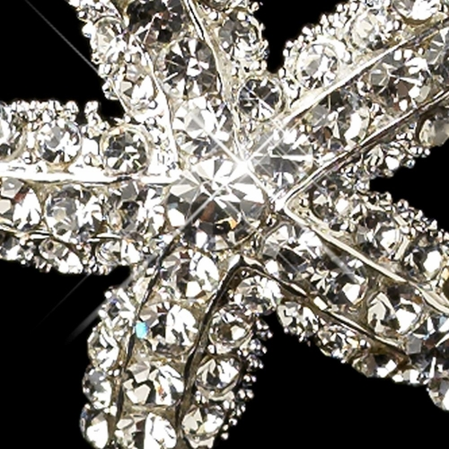 Silver Clear Rhinestone Beach Starfish Hair Pin 9083