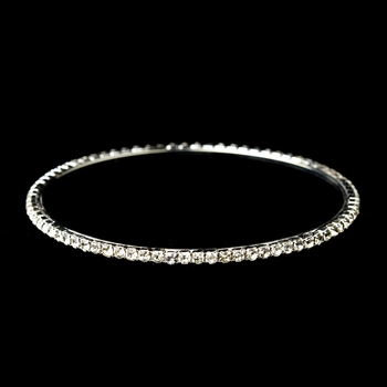 Silver Clear Rhinestone Bridal Wedding Bracelet 1137