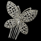 Silver Clear Rhinestone Butterfly Clip
