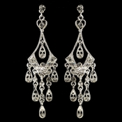 Silver Clear Rhinestone Chandelier Earrings 40094