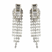 Silver Clear Rhinestone Clipped Drop Chandelier Earrings 1006