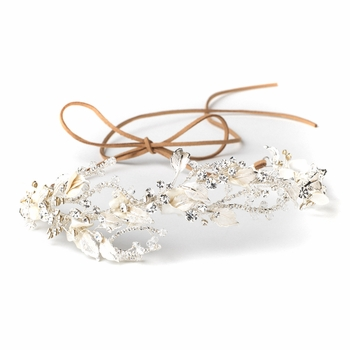 Silver Clear Rhinestone & Crystal Rum Pink Floral Leaf Vintage Vine Bridal Wedding Bun Wrap Headpiece 10004 with Organza & Leather Ribbon