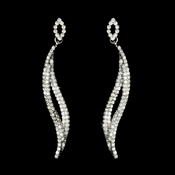 Silver Clear Rhinestone Curved Dangle Earrings 8344 * 1 Left *