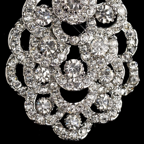 Silver Clear Rhinestone Chandelier Earrings 8685