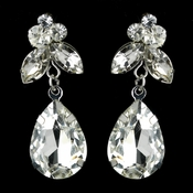 Silver Clear Teardrop & Marquise CZ Crystal Dangle Earrings 40564