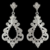 Silver Clear Rhinestone Dangle Earrings 8688