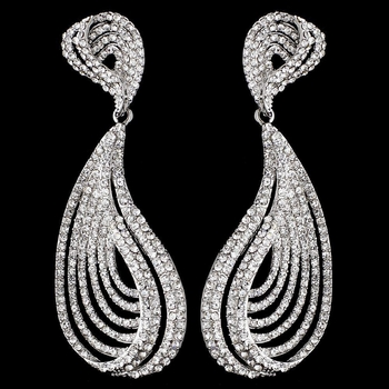 Silver Clear Rhinestone Dangle Earrings 9893