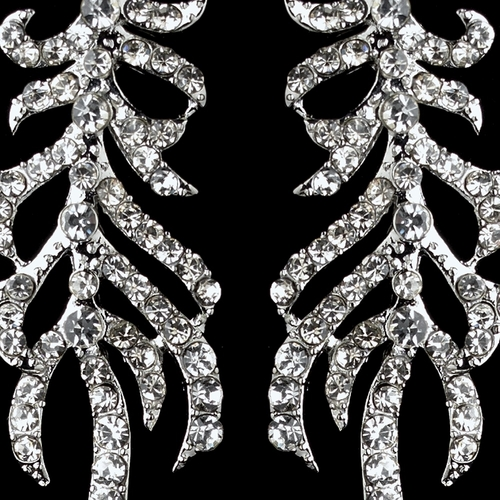 Silver Clear Rhinestone Dangle Vine Earrings 9644