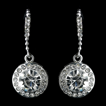 Silver Clear Rhinestone Drop Earring On Hook Earrings 25692