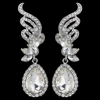 Silver Clear Rhinestone Drop Earrings 9891