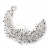 Silver Clear Rhinestone Floral Vine Bridal Wedding Hair Bun Wrap Comb 5096