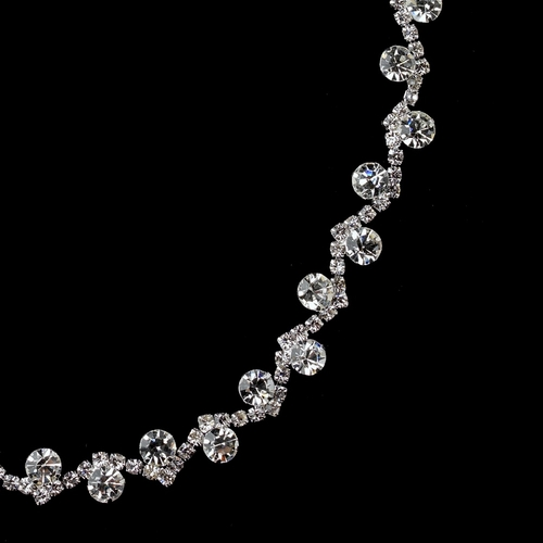 Silver Clear Rhinestone Hair Elastic Headband 247 ** 0 Left **