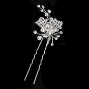 Silver Clear Rhinestone Hair Pin 126
