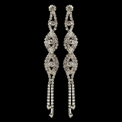 Silver Clear Rhinestone Long Dangle Earrings 4097 **Discontinued**