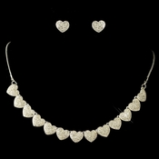 Silver Clear Rhinestone Pave Heart Jewelry Set 71697