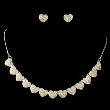 Silver Clear Rhinestone Pave Heart Jewelry Set 71697***Discontinued***