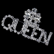 Silver Clear Rhinestone Queen Brooch