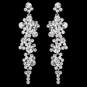 Silver Clear Rhinestone Round Dangle Earrings 9889