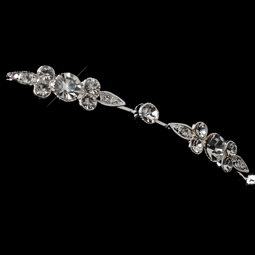 Silver Clear Rhinestone Simple Headband 1550