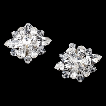 Silver Clear Rhinestone & Swarovski Crystal Bead Shoe Clip 1 (Set of 2)