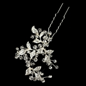 Silver Clear Rhinestone & Swarovski Crystal Leaf Hair Pin 9331