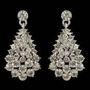 Silver Clear Rhinestone Teardrop Round Cut Dangle Earrings 4095 **Discontinued**