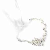 Silver Clear Rhinestone & White Enameled Floral Accent Bridal Wedding Ivory Headband 3817