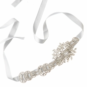 Silver Clear Rhinestone & White Ribbon Belt or Headband 960