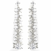 Silver Clear Round CZ Crystal Bridal Dangle Bridal Earrings 8673