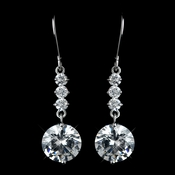 Silver Clear Round CZ Crystal Drop Earrings 40671