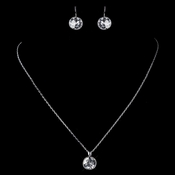Silver Clear Round Swarovski Element Crystal Jewelry Set 9600