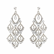 Silver Clear Round Rhinestone Chandelier Earrings 0430