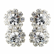 Silver Clear Round Rhinestone Clipped Earrings 2221