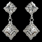 Silver Clear Round Rhinestone Drop Earrings 1467