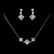 Silver Clear Round Rhinestone Necklace 1461 & Earrings 1467 Jewelry Set