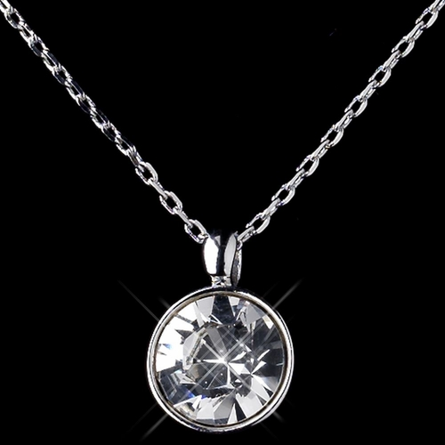 Silver Clear Round Swarovski Crystal Element On Chain Necklace 9600