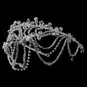 Silver Clear Swarovski Crystal Bead & Rhinestone Headdress Draped Headband 4463