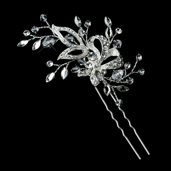 Silver Clear Swarovski Crystal Bead & Rhinestone Leaves Pin 11753