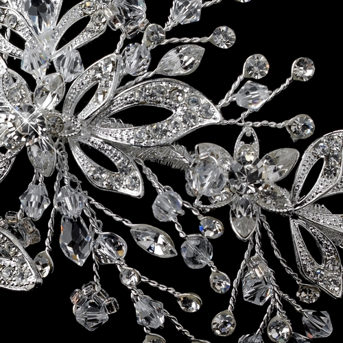 Silver Clear Swarovski Crystal Bead & Rhinestone Side Accented Headband 4447