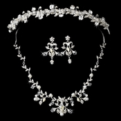 Silver Clear Swarovski Crystal Bead, Rhinestone & White Pearl Headpiece 7112 & Jewelry Set 7208