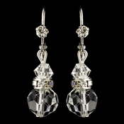 Silver Clear Swarovski Crystal Bead & Rondelle Dangle Leverback Earrings 9712