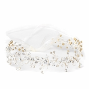 Silver Clear Swarovski Crystal Bead Vine Bridal Wedding Ivory Organza Ribbon Accent Headband 10001