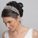Silver Clear Swarovski Crystal Bead Vine Bridal Wedding Organza Ribbon Accent Headband 9200