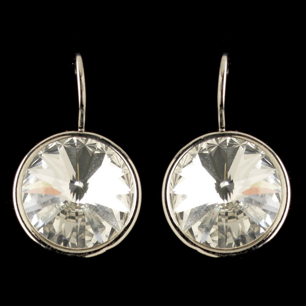 Silver Clear Swarovski Crystal Element Large Round Leverback Earrings 9603