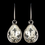 Silver Clear Swarovski Crystal Element Teardrop Dangle Hook Earrings 9601