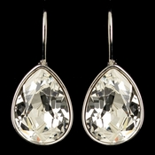 Silver Clear Swarovski Crystal Element Teardrop Leverback Earrings 9602
