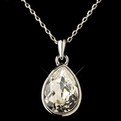 Silver Clear Swarovski Crystal Element Teardrop Pendant Necklace 9602