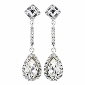 Silver Clear Tear Drop Rhinestone Bridal Earrings 24521